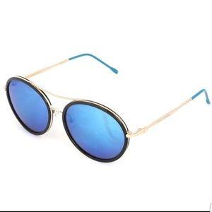Betsey Johnson Black & Blue Aviator Sunglasses